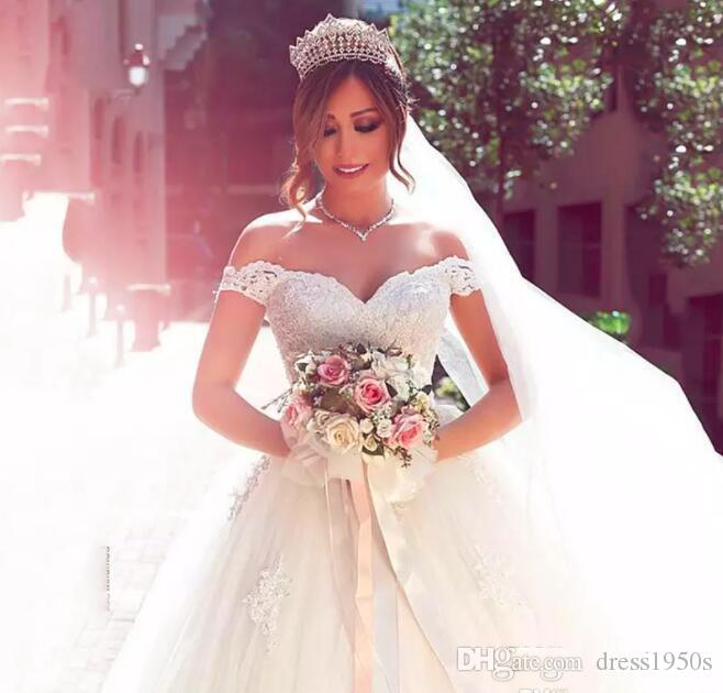 2018 Glamorous Tulle Off Shoulder Neckline Ball Gown Wedding Dresses ...