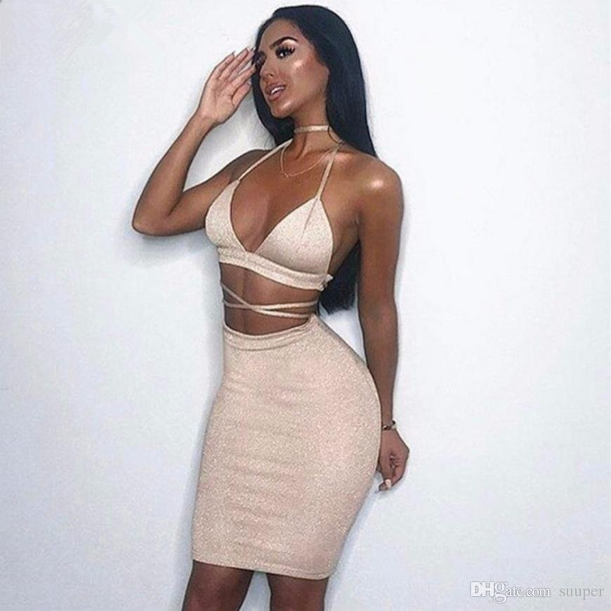 2019 Sexy Sparkly Bandage Bodycon Dresses 2018 Halter Deep V Neck Lace Up  Crop Top Two Piece Set Summer Club Party Dresses Vestidos From Suuper 35d98e906a51
