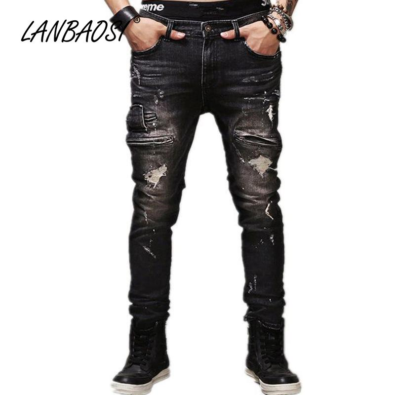 8a3390514ec 2019 LANBAOSI JEANS Men S Ripped Jeans Pants Casual Boy S Black Denim Pant  Multi Pockets Cotton Hole Torn Straight Cowboy Trousers From Felix06