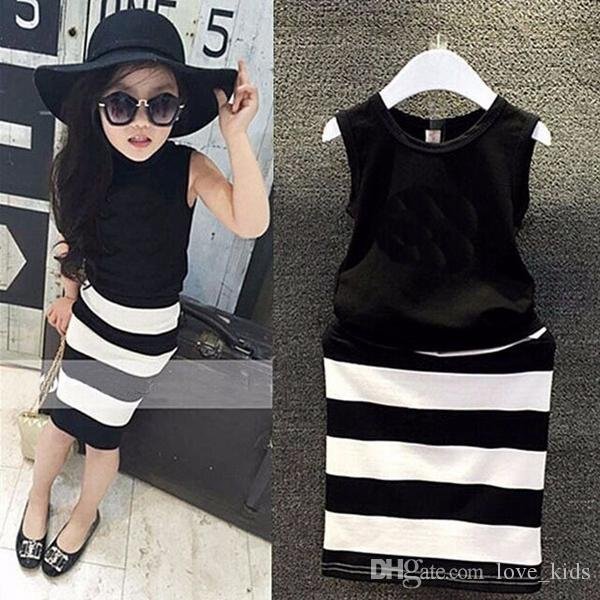 New design pattern fashion movement summer dress girls clothes baby black and white striped dress children Clothing