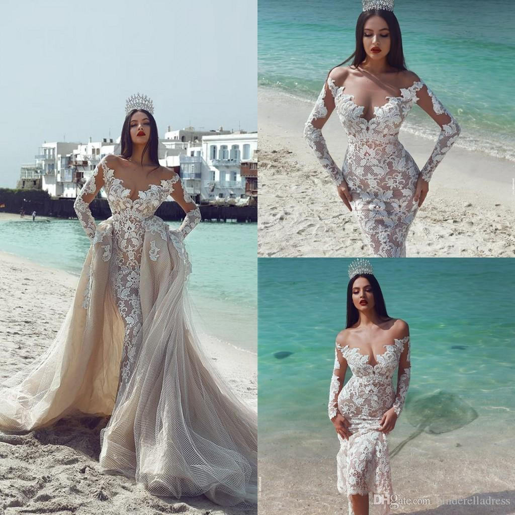 2018 Designer Said Mhamad Mermaid Wedding Dresses With Removable Skirts Off Shoulder Lace Long Sleeves Champagne Bridal Dress