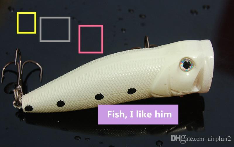 Открыть большой рот Поппер ночь Рыбалка приманки 7.5 см 10 г пластиковые поддельные рыбы Topwater рыболовные приманки аксессуары Pesca крючки