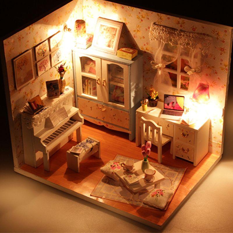 3d Mini Puzzle Diy Handmade Furniture Miniature Dollhouse Building Model  Home Decoration Diy Miniature Model Kit Wooden House Wooden Barbie  Dollhouse ...