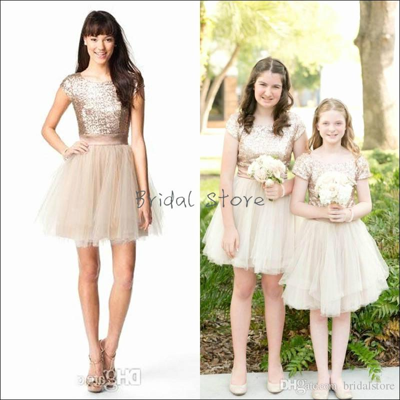 Bling Rose Gold Sequins Junior Bridesmaid Dresses Short Sleeve Knee Length  Country Flower Girl Dresses Tulle Cheap Garden Wedding Gowns Bridesmaid And  ... 70aad1cf8834