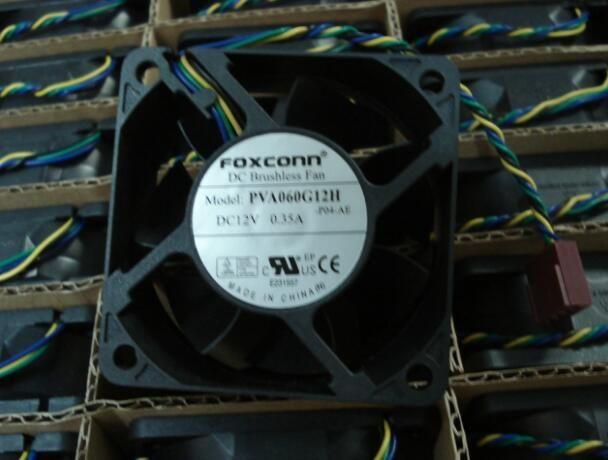 FOXCONN 60*60*25 PVA060G12H DC12V 0.35A four wire PWM speed control 6CM fan