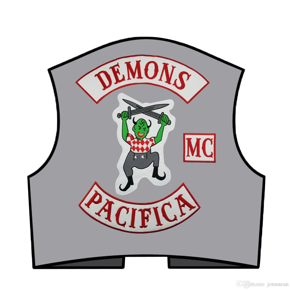 NEW ARRIVAL COOLEST DEMONS PACIFICA LARGE BACK EMBROIDERY PATCH MOTORCYCLE CLUB VEST OUTLAW BIKER MC COLORS PATCH