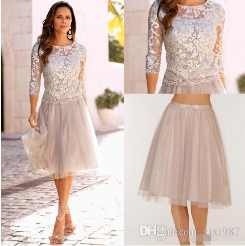 Two pieces Plus Size Mother of the Bride Dresses 2018 A Line Lace Light grey Formal Evening Gowns
