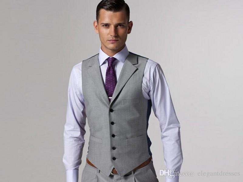 2021 사용자 정의 정식 남자 가벼운 회색 측면 통풍 신랑 턱시도 신랑 텐 웨딩 정장 신랑 비즈니스 착용 자켓 + 바지 + 조끼 + 넥타이