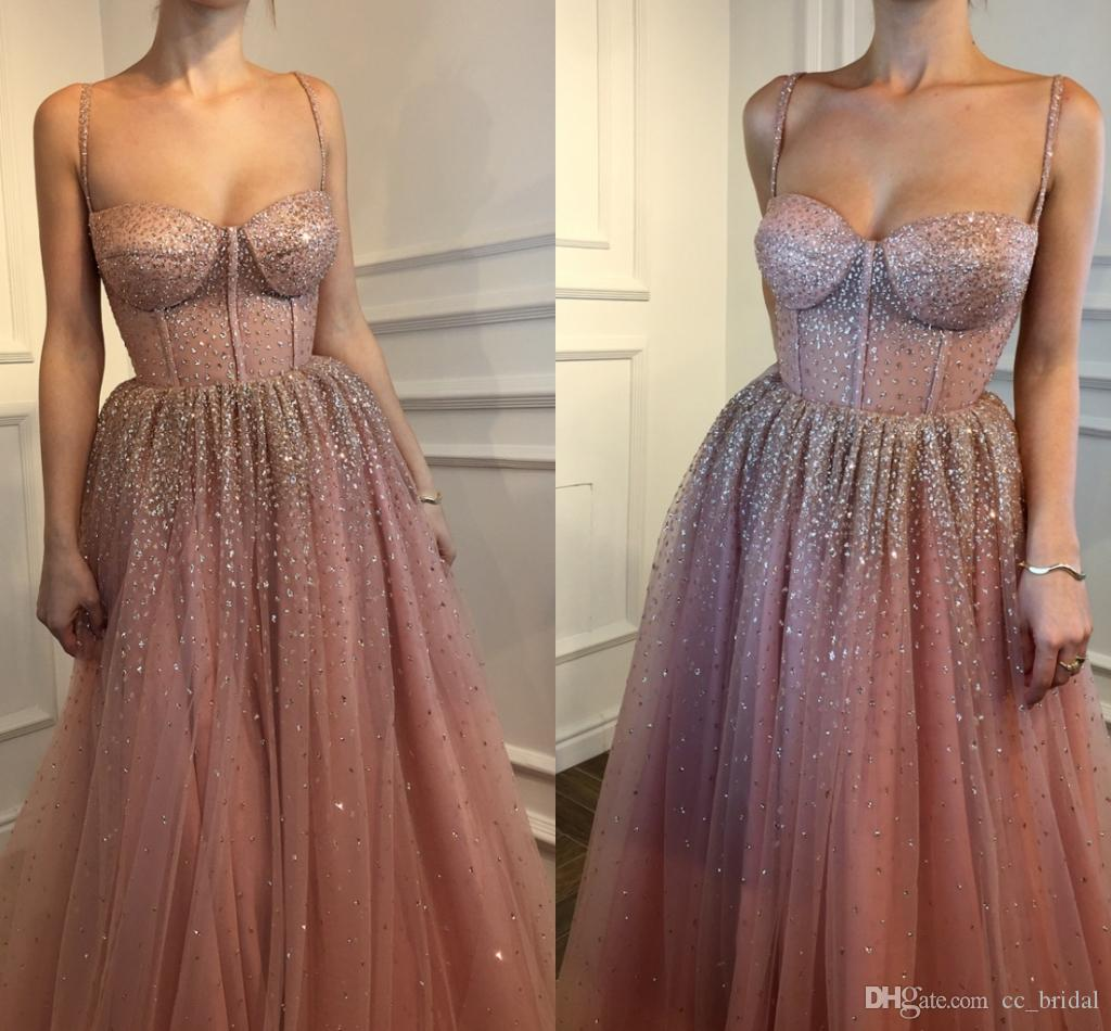 New Fashion Tulle Prom Dresses 2018 Sexy Spaghetti Straps Beading Crystal Saudi Arabic Sweet 16 Dress Evening Wear Custom Made Girls Dress