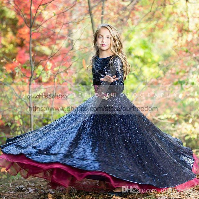 Lindas lentejuelas azul marino de manga larga niñas de las flores vestidos una línea de tul borgoña niños del desfile vestidos de primera comunión por encargo caliente