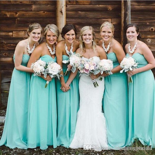 Turquoise Long A Line Bridesmaids Dresses 2018 New Sweetheart Ruched ...