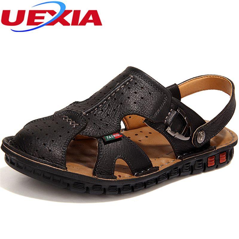 5f5ec170f7356 UEXIA Fashion Luxury Handmade Non-Slip Leather Summer Shoes Men ...