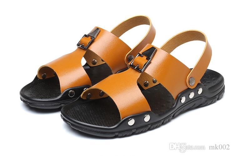 b9dda39ccde3 Men Sandals Pu Genuine Split Leather Men Beach Sandals Men Casual Shoes  Flip Flops Thong Sneakers Plus Size 38 47 Silver Wedges Brown Wedges From  Mk002