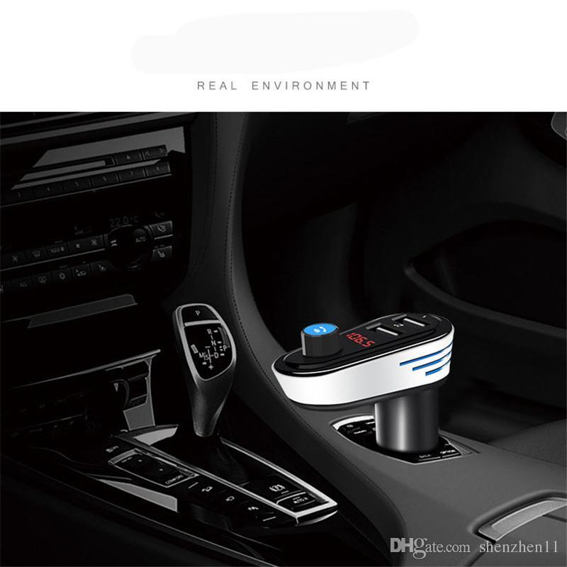Bluetooth 4.2 Reproductor de MP3 para automóvil Transmisor de FM Adaptador de modulador de radio FM Kit de manos libres para automóvil 5V 3.4A Soporte USB para cargador dual U-disk OTH744