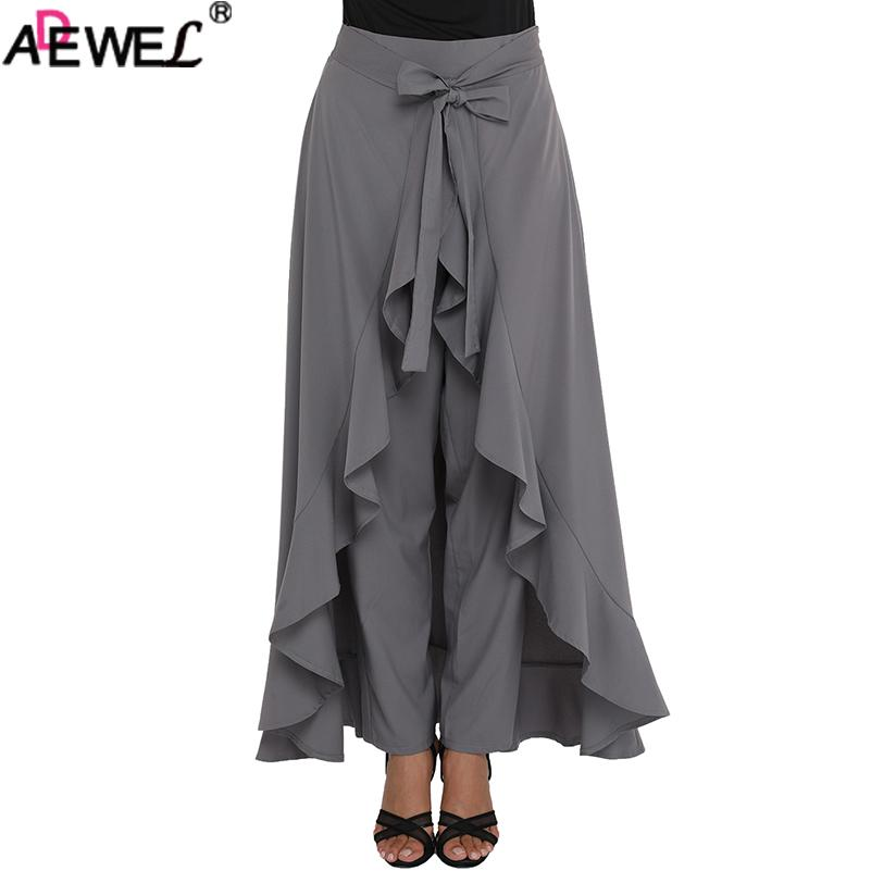 336066ccc9fc 2019 ADEWEL 2018 New Chic Chiffon Women Maxi Skirt & Pants Tie Waist Ruffle  Skirted Palazzo Pants Solid Elegant Culotte Black Gray From Candd, ...