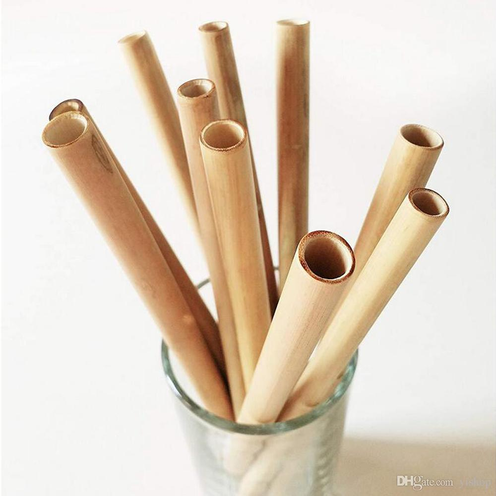 19.7cm Natural Reusable Bamboo Straws Bubble Tea Juice Coffice Thick Bamboo Drinking Straws Eco Friendly Handcrafted Natural Drinking Straws