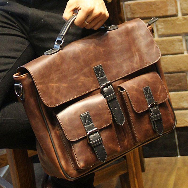 6fc02b79388a 2017 New Brown Leather Office Bags For Men Designer Briefcase Male Business  Portfolio Mens Shoulder Messenger Bag Handbag B00014 Leather Laptop Case  Luxury ...