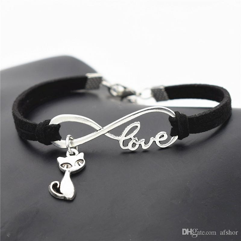 AFSHOR New Fashion Antique Silver Cute Animal Cat Charms Small Fox Pendant Infinity Love Leather Bracelet Bangle Lovely Jewelry Unique Gifts