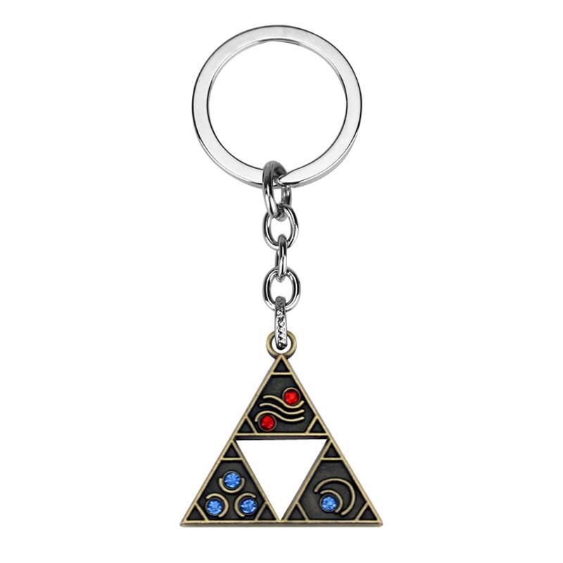 Silver Plated Trendy Alloy children The Legend of Zelda KeyChain hollow triangle KeyChain A Link to the Past Triforce Key Chain Ring y093