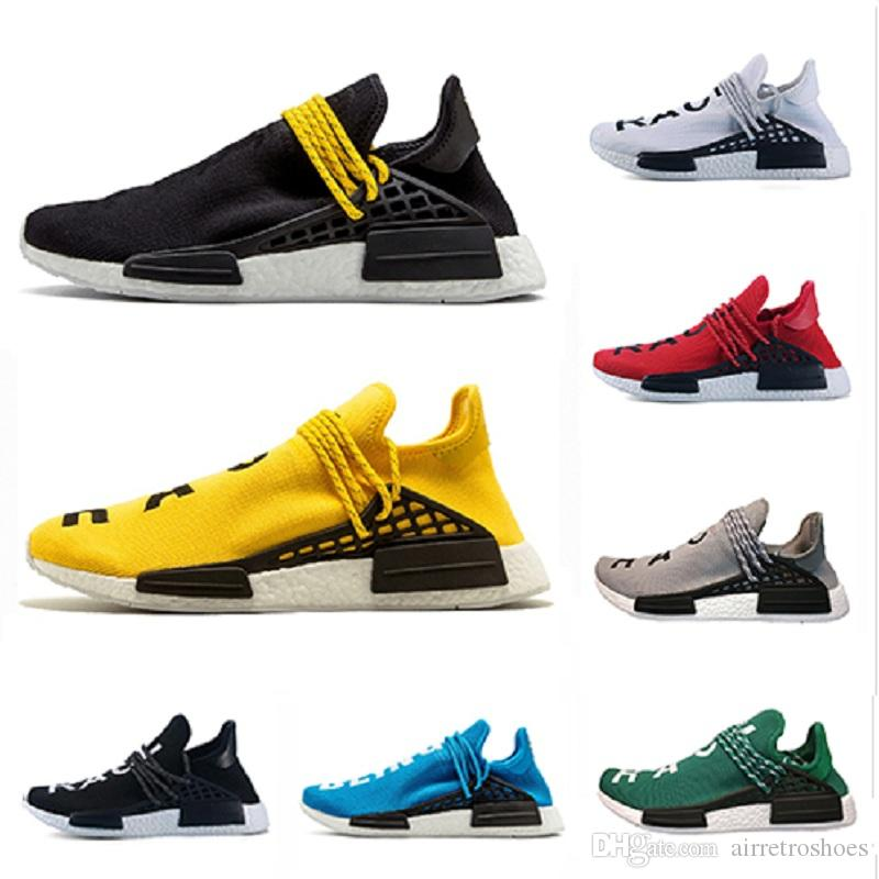 Cheap Human Race trail Running Shoes Men Women Pharrell Williams HU Runner Yellow Black White Red Green Grey blue sports runner sneaker