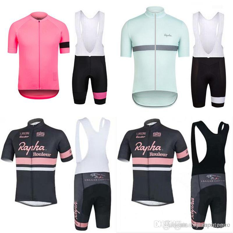 RAPHA Team Cycling Short Sleeves Jersey Bib Shorts Sets Gel Pad Quick Dry Cycling  Clothing Breathable Comfortable Bicycle Wear C2616 Cycle Shorts Castelli ... 69cd09bfe