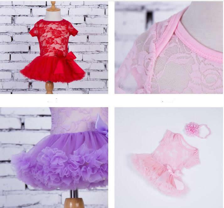 INS Summer Toddler Kids Baby Girls Full Lace Dress tutus & flower headband Short Sleeves lace Outfits S M L for kids 0-4T