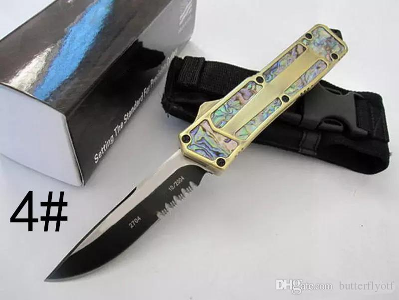 automatic knife Abalone Shell Double Action 10 style blade A07 D07 A162 Hunting Pocket folding Survival Knife