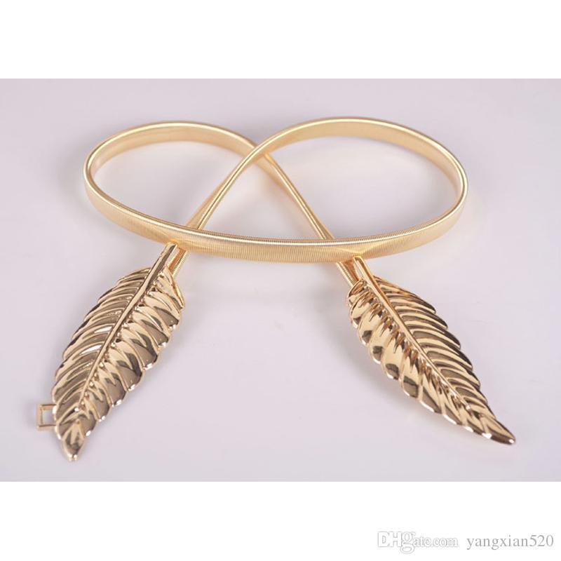 Diseño de la hoja de la mujer Cinturón de metal Hojas Cierre de corchete Cintura elástica delantera Cinturón de la cintura elástico de plata Hojas Cinturón de cadena