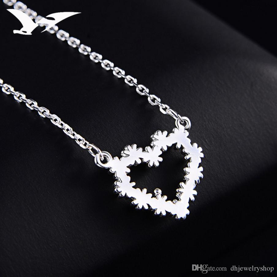 Благородный мода высокое качество 925 серебряные ювелирные изделия сердце хризантемы кулон Шарм ожерелье ювелирные изделия подарок