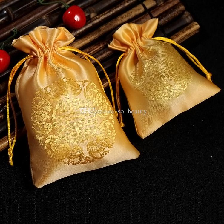 Traditional Chinese Satin Drawstring Bags XI Pouches For Wedding Party Favor Candy Bags Gift Package Bag Red or Gold