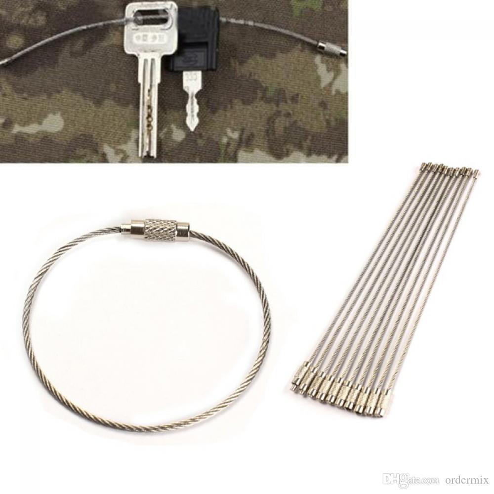 ¡NUEVOS venta CALIENTE 2017! Cable de acero inoxidable Llavero Cable Llavero para caminatas al aire libre Buen uso Car-styling