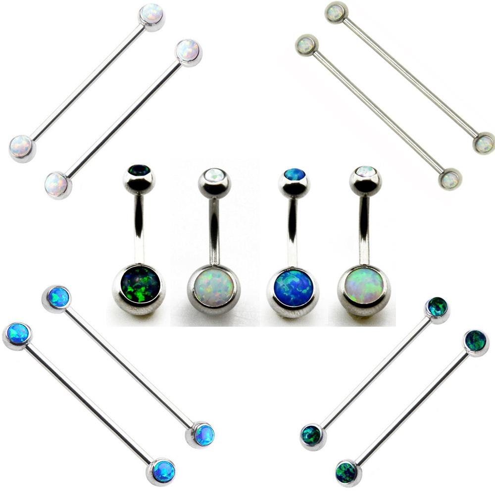 Showlove Opal Crustal Navel Belly Button Ring Ear Industrial Barbell Earrings Cartilage Piercing Gauge Body Jewelry