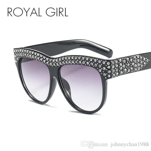 46b82ac511b ROYAL GIRL Fashion Rhinestone Sunglasses Women 2018 Brand Designer  Oversized Crystal Black Pink Oval Sun Glasses Oculos Ss325 Bifocal  Sunglasses Retro ...
