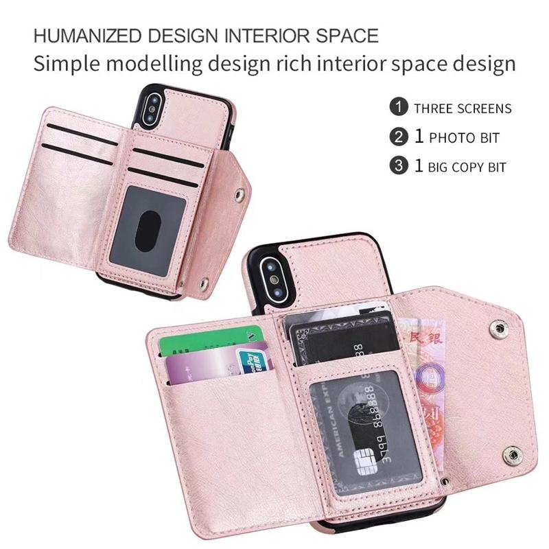 ID Card Slot Wallet Leather Back Case For Iphone 12 2020 11 Pro MAx XR XS MAX X 8 7 6 Galaxy S20 Note 20 Cash Magnetic Cover Holder Purse
