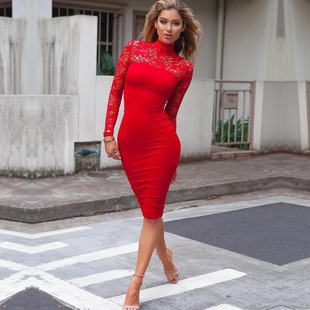 709f37ea480 Acheter 2017 Nouvelles Femmes Sexy Évider Dentelle Solide Moulante Daresses  Manches Longues Femmes Robe Noir   Bleu   Rouge   Blanc De  24.75 Du  Qinfeng03 ...