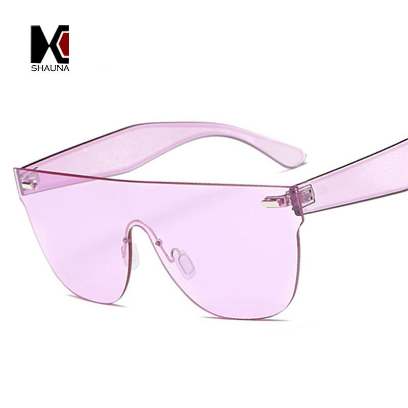 109ee6374a4 SHAUNA New Trend Purple Sunglasses For Women Brand Designer Candy Colors  Goggle Men Female Rimless Yellow Tinted Lens Glasses Cycling Sunglasses  Running ...