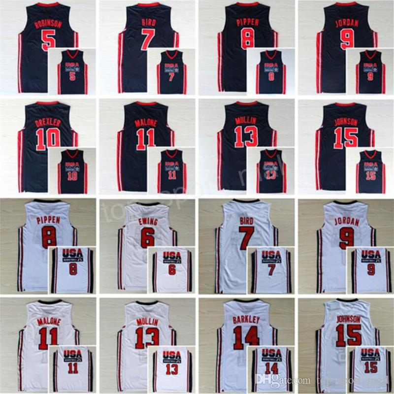f262ddf3d8dc Großhandel 1992 Usa Dream Team One Trikots Basketball 13 Chris Mullin 15  Magic Johnson 5 David Robinson Trikot 11 Karl Malone 4 Christian Laettner  Von ...
