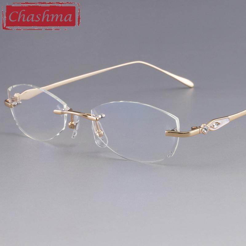fa35123fa9 2019 Chashma Designer Eyeglasses Diamond Female Rimless Titanium Glasses  Frame Transparent Stone Lenses Women Prescription Spectacles From Value333