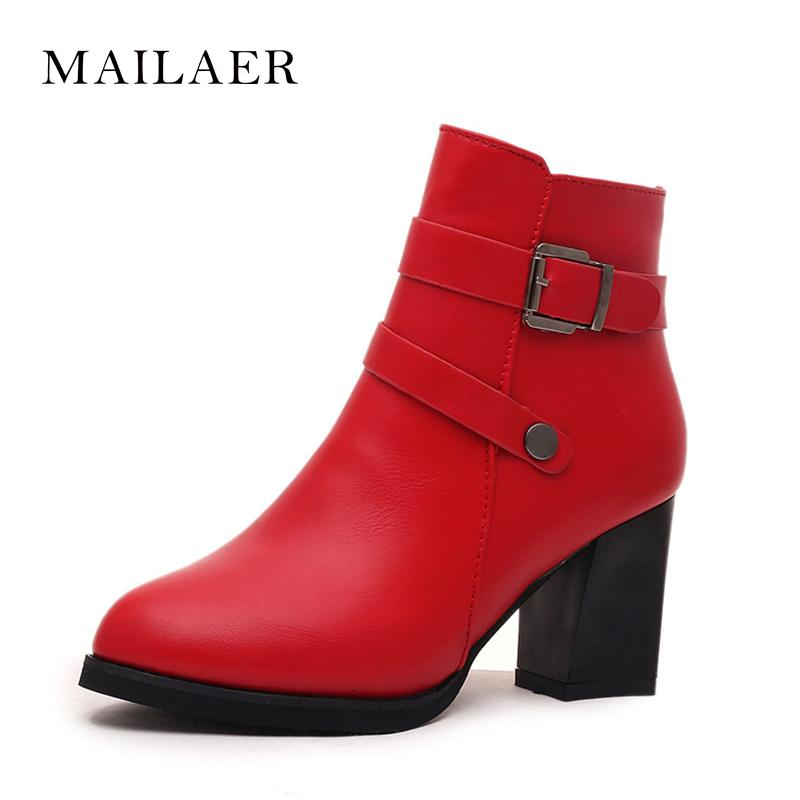 e0c9fd82104 New round head fashion Martin boots belt buckle thick with high heel plus  velvet warm fashion boots women