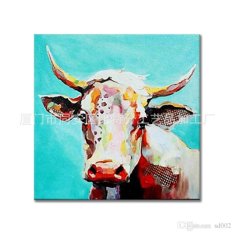 3D Animal Theme Home Decor Oil Painting White Cow Frameless Wall Paintings Art High Quality Genuine Hand Painted Canvas 100bt7 jj