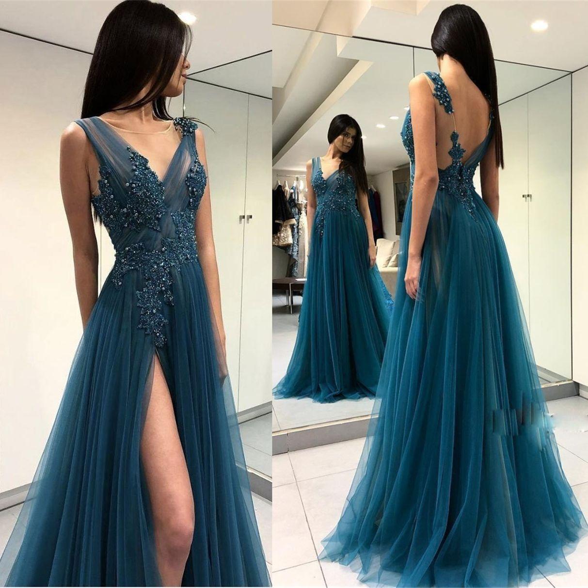 Discount Designer Dresses Cocktail: Cheap Prom Sweet 16 Dresses Long Sheer Scoop Backless