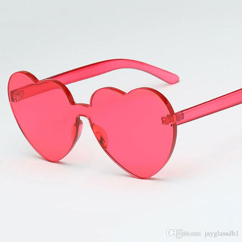 82d8b023e4 New Arrival Red Heart Sunglasses for Women 2018 Trendy Novelty Rimless Sun  Glasses Candy Color Love Style Fashion Pink Yellow Eyewear Women Sunglasses  New ...