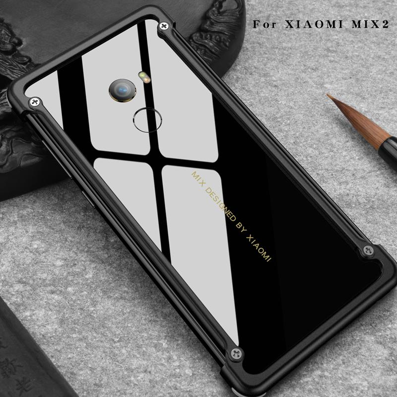 official photos a12ed 00d37 Airbag Metal Case For Xiaomi Mi Mix 2 Case Personality Airbag Shell for Mi  Mix Metal Bumper cover case with Gift Glass Film