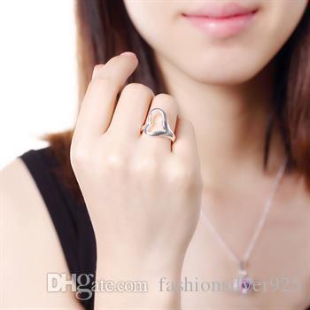 도매 - 소매 최저 가격 크리스마스 선물 925 실버 반지 오프닝 하트 반지 유럽과 실버 하트 모양의 반지 장식품 R009