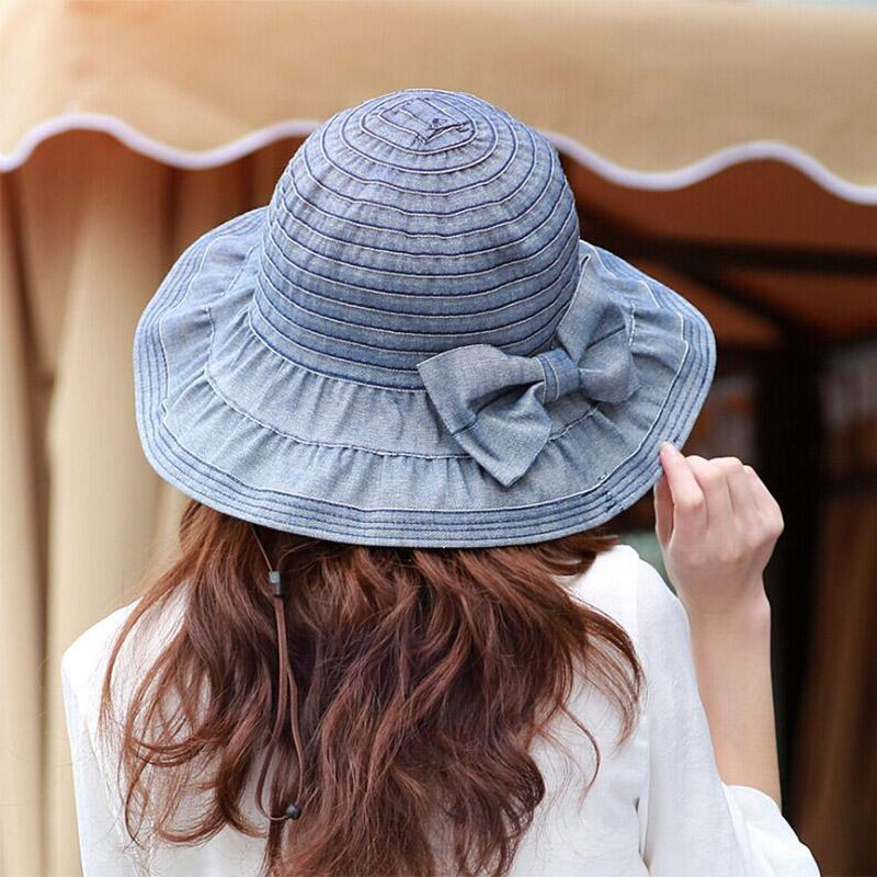Women Denim Bucket Hats with Bow Washed Summer Caps for Female Sun Block Sun Hat Cotton Outdoor Cap Casual Hat