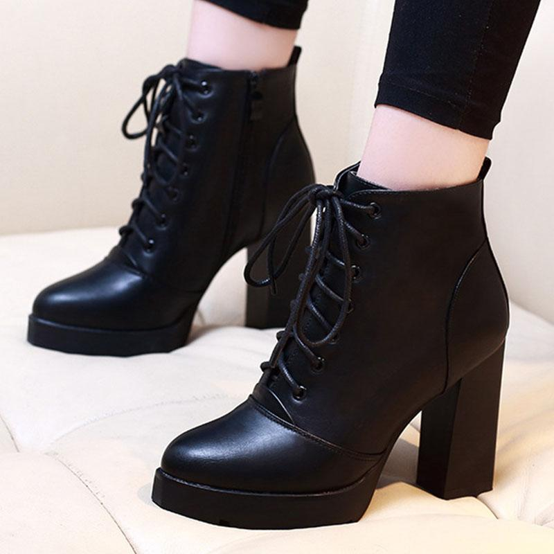 3c8b3c7da8176 2018 Women Zip Lace Up Chunky Heel Autumn Martin Ankle Boots Ladies Fashion Platform  High Heels Shoes Female Casual Footwear Green Boots Cute Shoes From ...