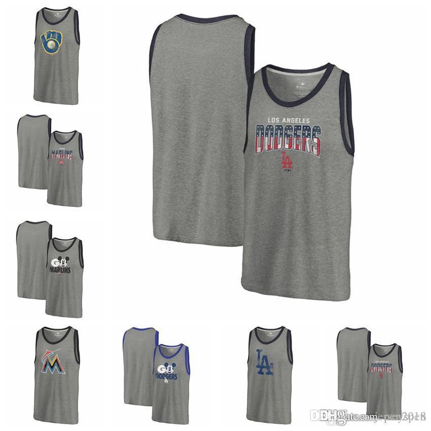 pretty nice 93bc8 398e7 2019 Men S Vest Milwaukee Brewers Miami Marlins Los Angeles Dodgers  Fanatics Branded Freedom Tri Blend Tank Top Heathered Gray Sleeveless From  Pen2018, ...