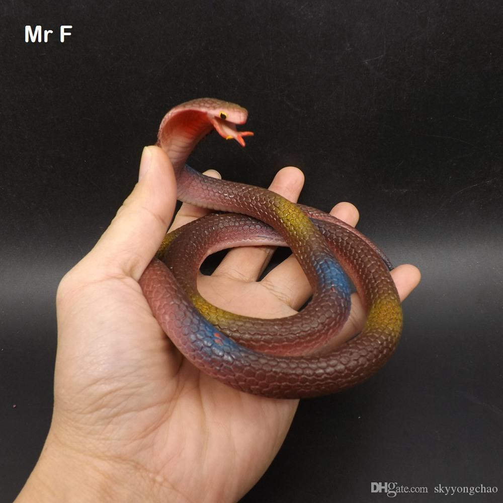 72 cm Brown Cobra Novelty Fun Toy Soft Rubber Snake Prop Prank Halloween  Jokes Toys Pretend Toy Educational Prop Teaching Adi