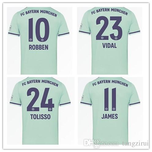 separation shoes a782e 1900d 18 19 Bayern Munich Away Light green jerseys JAMES VIDAL RIBERY GOTZE  SANCHES LAHM 18 19 LEWANDOWSKI MULLER ROBBEN BOATENG sports shirt