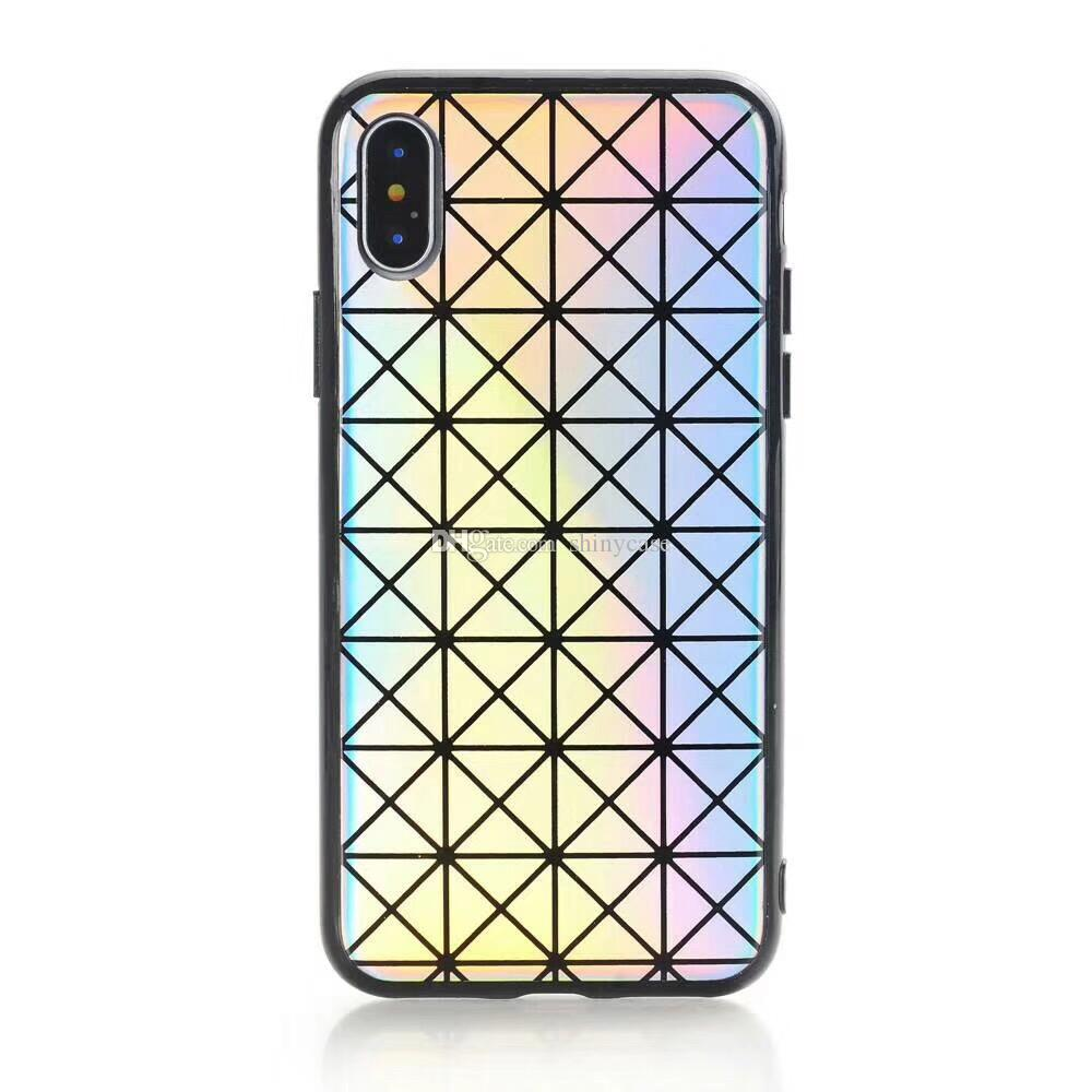 Fashion Laser Shiny Colorful Soft TPU Bling Phone Back Cover Plated Shell Chrome Rainbow Case for iPhone X 8 7 6S 6 Plus